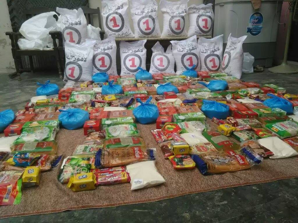 Gathering food to be distributed